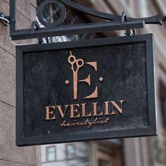 Logo for Evellin - Professional Hairstylist / Amsterdam (NL) If you are a profes. Logo Moda, Hairdresser Logo, Hair Salon Logos, Barber Shop Decor, Makeup Artist Logo, Business Hairstyles, Branding, Salon Design, Sky High
