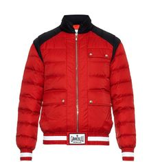 MONCLER GAMME BLEU Quilted down jacket ($1,390) ❤ liked on Polyvore featuring men's fashion, men's clothing, men's outerwear, men's jackets, jackets, red, mens red jacket, mens quilted down jacket and mens quilted jacket