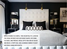 Nicole Cohen's Luxurious Bedroom | Rue  Two reading lamps above headboard