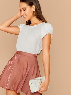 Solid Keyhole Back Petal Sleeve Top - Stylish Fashion Petal Sleeve, Summer Blouses, Types Of Sleeves, Sleeve Types, Short Sleeve Blouse, Blouses For Women, Women's Blouses, Fashion News, Mens Fashion
