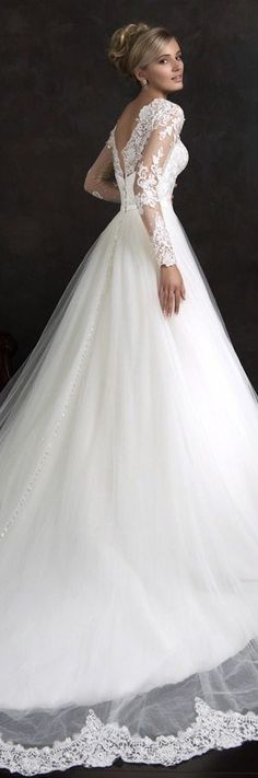 Amelia Sposa 2015 bridal nubia long sleeve ball gown wedding dress side view train