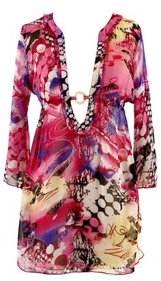 Plus Size Cover-Ups -  Sheer Chiffon Tunic  Cover-up -Pink