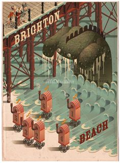 Brighton beach illustration from illustrator Mark Oliver.
