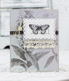 Soft gray Nature | Colleen Dietrich Designs - handmade greeting card  using Stampin' Up! Natural Beauty, crochet lace, gray velvet ribbon from May Arts, vintage thread.
