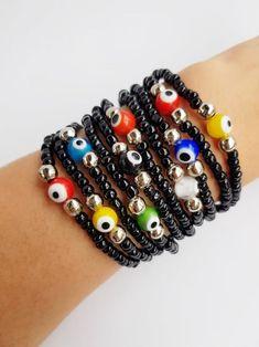 Evil Eye Bracelet Protection stretch bracelet evil eye   Etsy Eye Jewelry, Women Jewelry, Stretch Bracelets, Beaded Bracelets, Summer Bracelets, Turkish Jewelry, Evil Eye Bracelet, Glass Beads, Gemstones