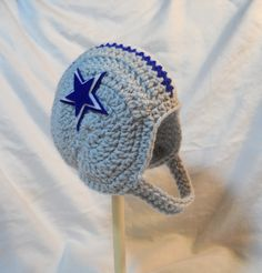 Dallas Cowboys Football Crochet Baby Helmet Hat with by CDBSTUDIO a22eea44268a
