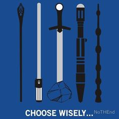 My dilemma is between the Sonic screwdriver and the Elder Wand. But the Elder Wand could do anything the rest of them could. I choose Elder Wand. Geek Out, Nerd Geek, Fandoms, Gandalf Staff, Doctor Who, Sword In The Stone, Sonic Screwdriver, Harry Potter, The Sonic
