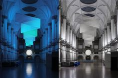 Note Design Studio took over the grand central hall of the Nordiska Museum in Stockholm, recreating the impressions of nordic lights, aurora borealis and moon reflections.