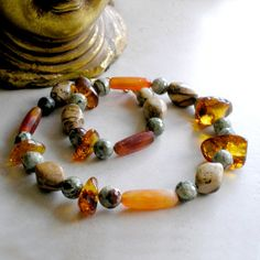 "Ethnic Tribal Style Necklace- ""Vision Quest""- Featuring Vintage Carnelian, Picture Jasper, Rhyolite and Baltic Amber Beads by Foret, $150.00"