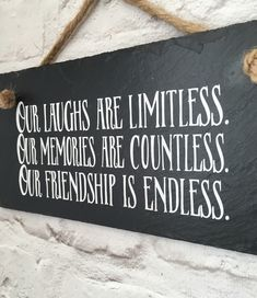 Friendship quote. Gift for friend. Hanging sign. Friendship sign. Best friend gift. Gift for her. Slate sign.FREE UK SHIPPING by Lilybelshomedecor on Etsy https://www.etsy.com/uk/listing/277273308/friendship-quote-gift-for-friend-hanging