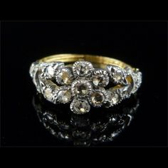 FABUOUS OLD ROSE CUT DIAMOND 15CT FLOWER RING