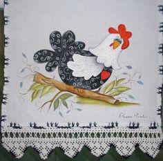 Pintura com barrado em crochê