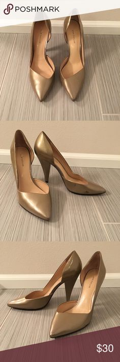 Ann Taylor Champagne Pumps Ann Taylor patent leather pumps in a shimmering champagne gold color with a pointed toe. Perfect for work or play. Ann Taylor Shoes Heels