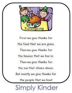 Short Thanksgiving Poems For Preschoolers Google Search Activities Prayers Songs