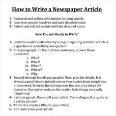 Write a Newspaper Article