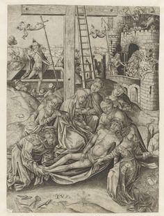 Anonymous   Bewening van Christus, Anonymous, Israhel van Meckenem, 1450 - 1503   Nicodemus en Jozef van Arimathea leggen het dode lichaam van Christus op de grond, bij de voet van het kruis. Maria, Johannes en de drie Maria's knielen bij het lichaam. Op de achtergrond de wederopstanding van Christus en de Anastasis, waar Christus afdaalt naar de hel, hier voorgesteld als een burcht.