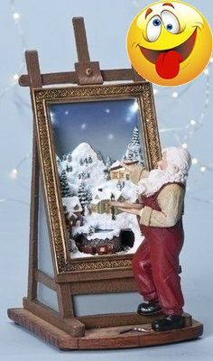 #limited #Santa Painting Winter Village Figurine. Plays various Christmas songs. Lights up. Made from resin. Approximately 10.8 inches long (27cm). Includes orig...
