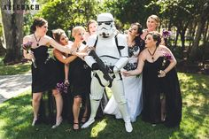 Look at that photo before. Just look at it! Is this not one of the best bridesmaid photos you've ever seen? It's like a photo straight from Darth Vader's wedding album!   Speaki…