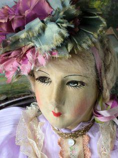 Antique Flapper Beauty Old Silk Face Blossom Boudoir Doll Art Deco