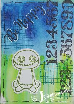 ATC kaartje gemaakt met Lindy's Stamp Gang Magical Shakers en Gummiapan Stempels