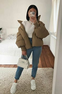 Trendy Fall Outfits, Casual Winter Outfits, Winter Fashion Outfits, Retro Outfits, Simple Outfits, Look Fashion, Stylish Outfits, Winter Ootd, Winter Outfits Women