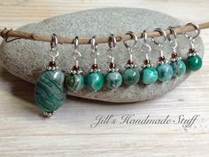 Green Agate Stone Stitch Markers SNAG FREE Knitting Stitch