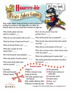 Some of the worst Pirate jokes in the world (or are they the BEST Pirate jokes!), collected into a fun trivia game. Match the punchline with the silly Pirate Pirate Party Games, Pirate Activities, Pirate Theme, Pirate Games For Kids, Library Activities, Pirate Baby, Pirate Life, Pirate Birthday, Birthday Ideas