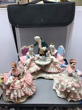 3 LARGE Antique Dresden Lace Dancers Figure German Porcelain LOT Marked