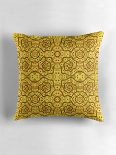 Helices, yellow & brown abstract pattern Throw Pillows by Clipsocallipso Worldwide shipping   Brown helices and dots on shining yellow background. Seamless abstract hand drawn arabesque pattern.   © Clipso-Callipso / Julia Khoroshikh All rights reserved #yellow #brown #yellowandbrown #helices #arabesque #pattern #abstract #curves #patterndesign #yellowaesthetic #redbubble #homedecor #pillows #cushion