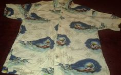 Hawaiian Christmas Camp Top L  Feliz Navidad Mele Kalikimaka Seasons Greetings #Bluewaterwear #Hawaiian