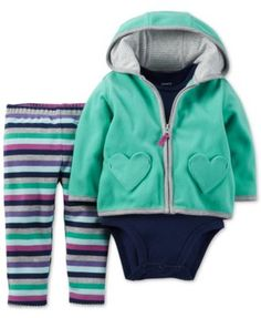 Carter's Baby Girls' 3-Piece Teal Heart Cardigan, Pants and Bodysuit Set