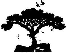 This is an example of positive and negative space. Depending on what you choose to make the background, the photo can either be a tree, or two animals looking at each other.