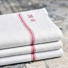 Antique French tea towels in pure linen - with red stripes and an MS or JS monogram Linen Towels, Tea Towels, Homemade Quilts, Linens And Lace, White Linens, Tablecloth Fabric, French Vintage, Vintage Linen, Linen Sheets