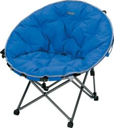 You'll be the center of attention when you show up to camp, soccer games or parades with this ultracomfortable, fold-out Moon Chair. Made of 1,200 denier-nylon, the Moon Chair also has a flocked, padded upper section and slip-resistant feet so it stays put on any surface. One-piece folding mechanism for easy carry and storage. Carry strap for convenient