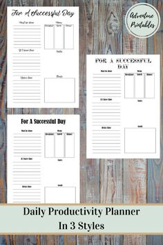 Daily Productivity Planner For Personal Or Business Planning in 3 Styles, PDF Printable Download, Productivity Planner, Daily Life Plan- Sizes A4 and Letter Size  Make you days easier or run your business smoothly with this amazing daily and daily planner! Plan accordingly to priorities: things that must be done, things to do if you have time and what to do to relax.Includes goal setting for a better productivity, meal planing and notes.  WHATS INCLUDED:  ► Daily PDFProductivity Printable…