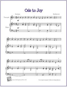 Ode to Joy - Free Beginner Trombone Sheet Music (Digital Print) Beginner Violin Sheet Music, Trombone Sheet Music, Viola Sheet Music, Trumpet Sheet Music, Cello Music, Piano Sheet Music, Music Sheets, Recorder Music, Guitar Songs