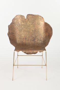 "Acid etched, metal ""stump chairs"", designed by Israeli industrial design student Sharon Sides for her 2012 thesis at the Bezalel Academy in Jerusalem.    Please credit responsibly! All photos via designboom.com."