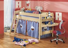 children's loft bed ideas | ... bedroom furniture, kids bunk beds with a desk, shelf and curtains