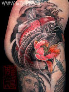 Koi done at the Hell City Tattoo Fest 08 by Jess Yen (Horiyen)   初代彫顔の作品- ヘル・シティーで仕上げた鯉 [jess@mytats.com]