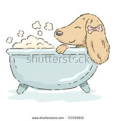 Cute cartoon Dachshund relaxing in a bathtub in watercolor style, vector