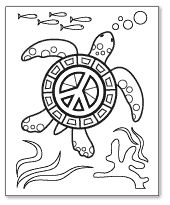 sea turtle peace sign coloring page