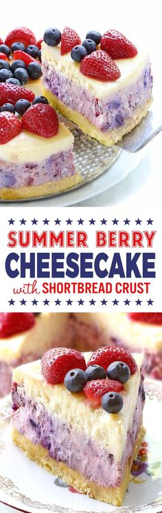 There's never a bad reason to have cheesecake, and this Summer Berry Cheesecake is perfect any day of the year, but especially right now as you're planning out your Memorial Day or fourth of July barbecues and picnics. Mini Desserts, Summer Desserts, Just Desserts, Delicious Desserts, Yummy Food, Summer Recipes, Summer Dishes, Simple Recipes, Berry Cheesecake