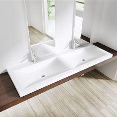 BTH: 144x48x12cm, Einbauwaschbecken Colossum03, aus Gussmarmor, Doppelwaschbecken, Waschbecken: Amazon.de: Baumarkt