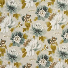 Aqua Olive Green and Beige Large Flover Print Canvas Linen Upholstery Fabric
