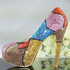 unique design Customized Handmade vintage multicolor ladies evening shoes $189.30