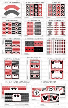 Printable DIY Black and Red Mickey Mouse and Minnie Mouse Theme Boy / Girl Shared Personalized LARGE Birthday Party Package