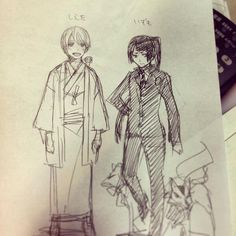 "by Kato Kazue加藤和恵""Blue Exorcist"" ‏@katohhhhhh I cannot think up of any balancing of characters like this. Izumo the male ver. and Shieta the female ver. こんなキャラバランスは、私が素で考えたらでてこないな…"