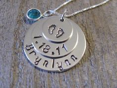 Triple Stack New Baby Keepsake Pendant - Great Gift for Mom and Grandma. $58.00, via Etsy.