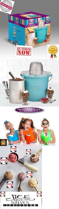 Other Small Kitchen Appliances 20685: Nostalgia Electrics Ice Cream Maker 4 Quart Blue Bucket Yummy Ice Cold Treat Kid -> BUY IT NOW ONLY: $32.99 on eBay!