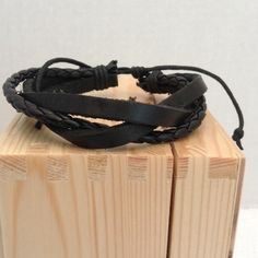 Leather Wrap Bracelet Pull string closure. Will fit wrists over 8 inches and as small as 5 inchesbin55 Jewelry Bracelets